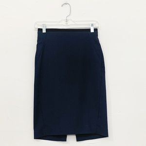 Elie Tahari Navy Blue Black Trim Pencil Skirt Wool
